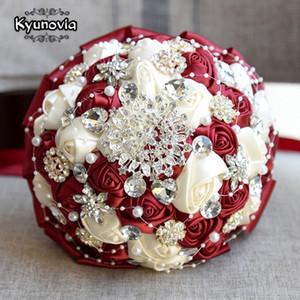 Kyunovia Bourgogne Broche Bouquet Mariée Ivoire Bouquets De Fleurs artificielles Mariage de mariage en cristal Buque De Noiva 4 Couleurs FE86