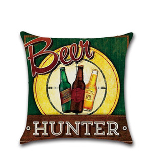 Beer Bottle Pillows Case British Style Retro Pillow Cover Letter Print Cushion 45*45cm Sofa Nap Covers Home Bar Decoration