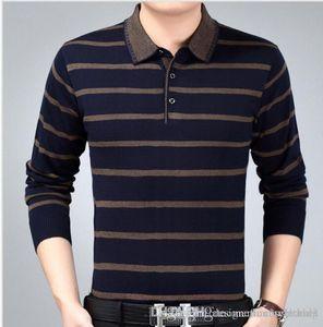 Nouveau Homme Tricoté rayé Mode Père Vêtements Polos Hommes Designer Polo T-shirt Automne Printemps Tops d'affaires