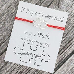 Puzzle Design Silver Charm Bracelet for Women Men Beach Fashion Gift Wish Love Card Quate Bracelet Friendship Jewelry Family Member
