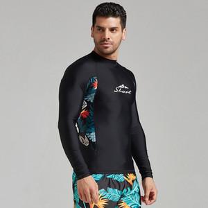 Nouveau séchage rapide chemise de minces hommes wetsuit hommes maillots de bain crème solaire à manches longues costume de plongée en apnée split