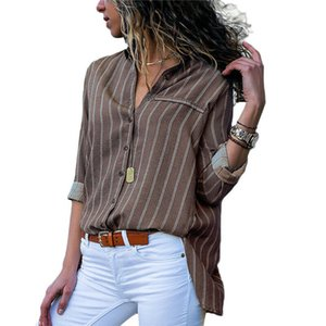 Neue Art-Sommer-Frauen Langarm-Polyester V-Ausschnitt Streifen lose Oberseiten-OL Damen Freizeit-Knopf Bluse Art und Weise elegante