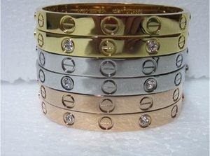 Kadınlar için Titanyum Çelik Aşk Bilezikler orijinal çanta ile altın / gümüş / altın Tornavida Bilezik erkek cazibesi vida bilezik Çift Mücevher gül