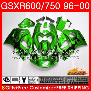 Тело Для SUZUKI SRAD GSXR 750 600 GSXR600 GSXR750 96 97 98 99 00 1HC.62 Зеленый пламя GSXR750 GSXR600 1996 1997 1998 1999 2000 Обтекатель комплект