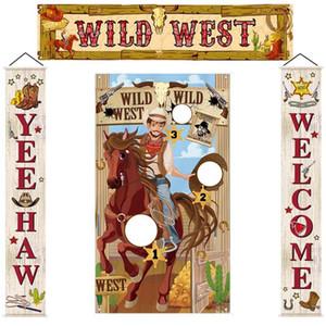 Batı Kovboy Parti Afiş Fotoğraf Çerçevesi Afiş Dekorasyon Kumaş Perde Kapı Bayrak Kum torbası Oyunu Asma Bayrak Kapı Asma