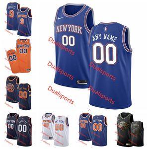 Personalizzato New YorkKnicks Uomini Donne Kid personalizzato Numero Nome Jersey 9 Barrett 6 Porzingis 13 Noah Città EditionPullover di pallacanestro caldo