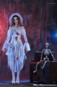 Halloween Party Dress avec ruban numérique imprimé à manches longues blanc Uniformes Cosplay Costume fantôme mariée