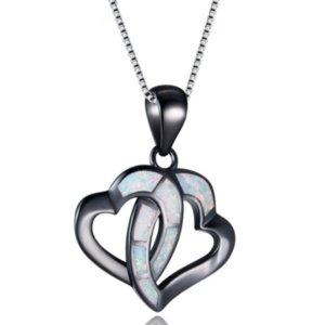Romantic Style Negro plateado arma 2 del amor del corazón temperamento colgante cadena de acoplamiento del collar de la joyería Opal Opalite