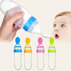 Silicona bebé de seguridad para niños 90ml Botella para bebé biberones con la cuchara Arroz Leche Cereal Pega 150pcs alimentos para bebés botella Copa CCA12161