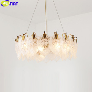 FUMAT Gold Frame Frosted Glass Pentant Lamps Gold Ceiling Lamp Tea Leaves Hanging Light Fixture Luxury Decoration Living Room