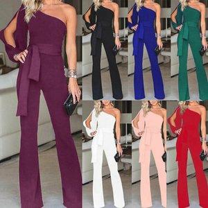 Frauen Ankunft Clubwear eine Schulter mit hoher Taille schnüren sich oben Bodycon Partei Overall-Spielanzug