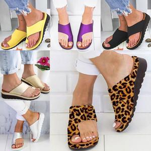 Zapatillas para mujer Chanclas Plataforma para mujer Sandalias de Tanga Suave Dedo del pie del pie Corrección Ortopédica Coronador de juanete Inicio Zapatos 7 color WX9-1363