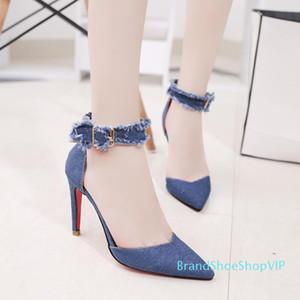 Pop2019 Panno Cowboy Sharp donne single scarpe Baotou Belle con i pattini Una fibbia tacco alto