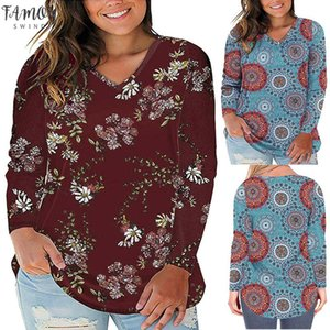 Womail Womens Long Sleeved T Shirt 2020 New Fashion Casual Sexy V Neck Print Wild Top Loose Large Size Shirt Camiseta