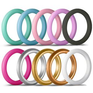 Kadınlar Düğün için 10pc / set 3mm Boyut 4-8 Food Grade FDA Silikon Halka Hipoalerjenik Esnek Spor Kauçuk Parmak Yüzük