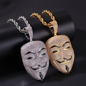 American Movie V For Vendetta Character Mask Head Zircon Stone Pendant Necklace Mens Iced Out Pendant Gold Brass Hiphop Jewelry