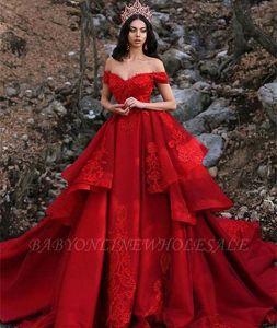 2020 Красный слои многоуровневые кружева аппликация линии плюс размер свадебные платья с плеча арабский Дубай часовня поезд свадебные платья BC0730
