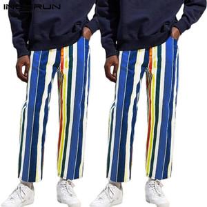 Stripe Color Fashion Homens do arco-íris cintura elástica calças retas Baggy Casual Harem Calças Corredores Mens Rua Sweatpants INCERUN