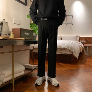 Male Fashion Trouser Straight Suit Ankle-Length Pants Men Vintage Streetwear Japan Korea Style Leather Belt Casual Pant