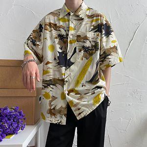 2020 Summer New Youth Popular Men's Harajuku Style Personality Printed Five-point Sleeve Shirt Fashion Casual Shirt Jacket M-2XL