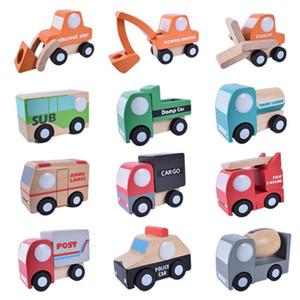 12pcs / Set bonito de madeira Assorted Construção Veículos Correu Mini Toy Car Avião Modelo Set bebê Crianças caminhão Brinquedos Crianças Presentes Y200109
