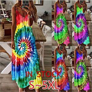 D7104 S-5XL del progettista delle donne del vestito da estate Tie Dye Whirlpool Stampa lungo Mxi Abito senza maniche regolabile Strap bohemién Beach Dress generale