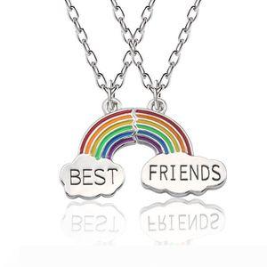 Best Friends Necklace 2 Piece Enamel Puzzle Rainbow Cloud Pendant Necklace BFF Friendship Jewelry Gift For Women Men Collares