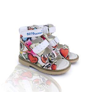 Ortoluckland filles red sandales flatfeet chaussures en cuir rigide orthopédiques pour les enfants bouclent arch support sangle chaussures correctrices