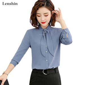 Lenshin New Stoff Hochwertige glatte und weiche Bogen-Shirt für Damen-Bluse Krawatte Elegante Tops Langarm-Büro-Dame Arbeitskleidung