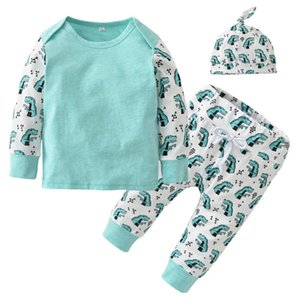 Newborn Clothing Baby Boys Girls Clothes Set Autumn Long Sleeve Cartoon Dinosaur Print Patchwork Infant 3Pcs Suit