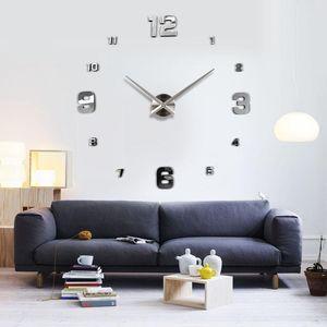 Gros-Muhsein Mode 3D Big Taille Horloge murale Miroir autocollant Chambre bricolage Brief Salon Décor Meetting Horloge murale Diy Marque mur Horloges