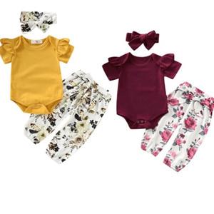 0 24 Months Newborn Baby Girl Clothes 3pcs Solid Color Bodysuit Flower Print Long Pants Headband Outfits Clothes Set
