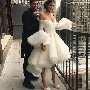 2020 Blanc Robe de soirée chérie cocktail courte robes de bal Salut bas Puffy manches Robe de soirée