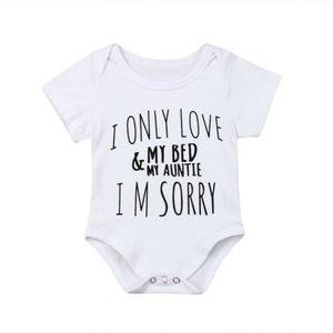 Новая мода малыш новорожденный нагрудники 1шт одежда Baby Girl Boy LOVE MY AUNTIE печать комбинезон Sunsuit Детская одежда наряды