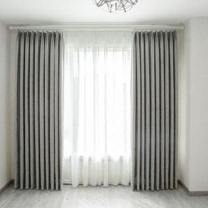 Europe and the United StatesNordic chenille thickened fabric solid color shade curtains for living room and bedroom