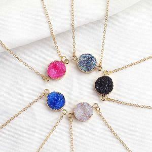 Nouveau design Résine Pierre Druzy Colliers 5 couleurs plaquées or Geometry Pierre Collier pendentif pour femmes élégantes filles Bijoux Fashion