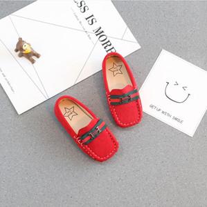 2019 yeni çift yüzlü süet ayakkabı çocuk moda vahşi tek ayakkabı erkek ve kız İngiliz rüzgar bezelye ayakkabı