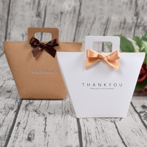 Thank you gift box bag with handle foldable wedding kraft paper candy chocolate perfume packaging simple LX1988