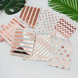 100pcs Paper Bags Popcorn Bag Candy Box Striped Dot Printed Paper Treat Bags Paper Wedding Decor Bags Party Favor CX200704