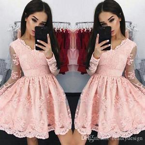 Rose Vintage col V robes de cocktail 2017 Sheer manches longues en dentelle pleine Tulle Party Tenue de soirée pas cher robe de bal Graduation Porter
