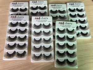 Red Cherry 5 pares cílios postiços 26 estilos Cruz Negra Sujo Natural longos e grossos Falso cílios Maquiagem de alta qualidade