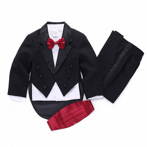 Hot 2019 Formal high quality child suits for boys wedding suits for boys party plaid childr suits wear 5-Piece black white