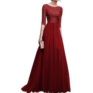 Vestido maxi atractivo de la manga del partido de las mujeres floral bordado del vestido largo de señora Vintage remiendo Vestidos Vestidos de encaje bata corta Femme