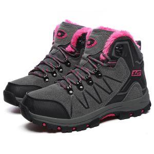 Men's boots couple men and women winter warm snow boots fur plush high help ankle sports shoes work shoes men's lace