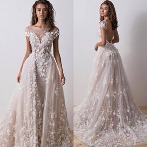 Dernières robes de mariée en dentelle jupe détachable pure cape cou manches robes de mariée robes sexy de mariage dos nu faites sur mesure