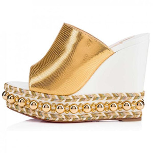 Excellente été Ladies Red Bottom Cataclou Wedge Sandales peep toes cloutées en cuir avec boucle cheville femmes chaussures EU35-42