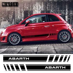 1 Çift 2 Taraf Vinil Araba Styling Abarth Yan Etek Etiket Çıkartmaları Şerit Sarar Vücut Çıkartmalar FIAT 500