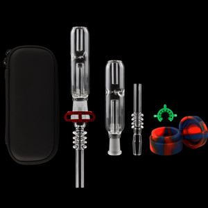 DHL Free EGO Zipper Case 10mm 14mm 19mm Mini Glass Pipes Kit With Quartz Nail Glass Dab Straw Water Bongs