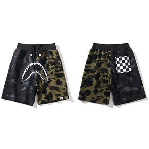 Bape Herren Designer Short Pants Luxury Fashion Herren Schwarz Grün Farblich passende Shorts Shark Print Casual Beach Pants