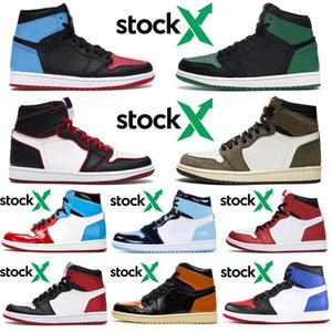 Nike Air Jordan Retro Travis Scott 1 1s Lager x Mens Frauen Basketball-Schuhe Fearless Bloodline Shattered Backboard Spiderman Fleck Black Toe Trainer Sport Turnschuhe